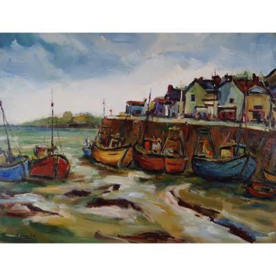 Ecole Française du XXème   « Le port du Crotoy,  Baie de Somme » par A.BARUBE