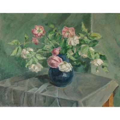 """Ecole Suisse  du XIX-XXème « Bouquet de Roses"""" par  Senn TRAUGOTT (1877-1955)"""