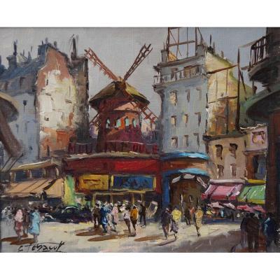 """Ecole française XXème. """"Le Moulin Rouge"""" par Edouard Le SAOUT"""