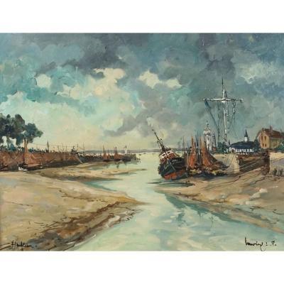 Ecole Française Du XXème « Entrée Du Port De Honfleur » Par Robert Lavoine (1916-1999)