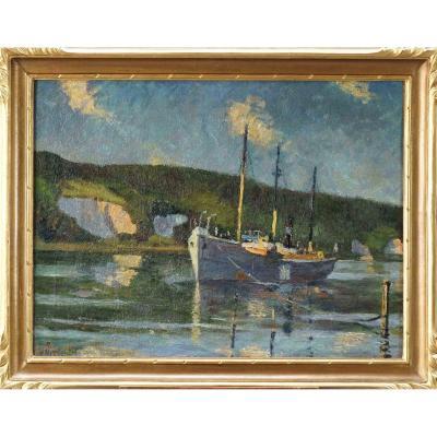 """Ecole Française  du Début XXème  «Cargo Nordique Amarré Sur La Seine"""" par M. TELLIER (1889-1929)."""