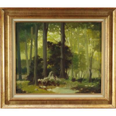 """Ecole Française du XXème """"Forêt de Bretonne en Normandie"""" par Pierre GAUTIEZ (1923-2006)"""