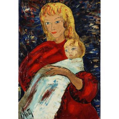 Ecole Française du XXème « Mère et son enfant » par Henri Maurice D'ANTY  (1910-1988)