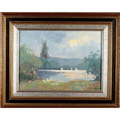 """French And Impressionist School Of The Rouen School """"sailboats In Freuneuse"""" By J. Huet XXth"""