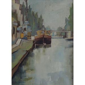 Ecole française du XXème  « Canal Saint Martin à PARIS » par R.G.  SADAUNE  (1940)