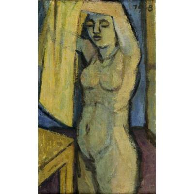 Female Nude Tempera On Canvas 1948 Germany