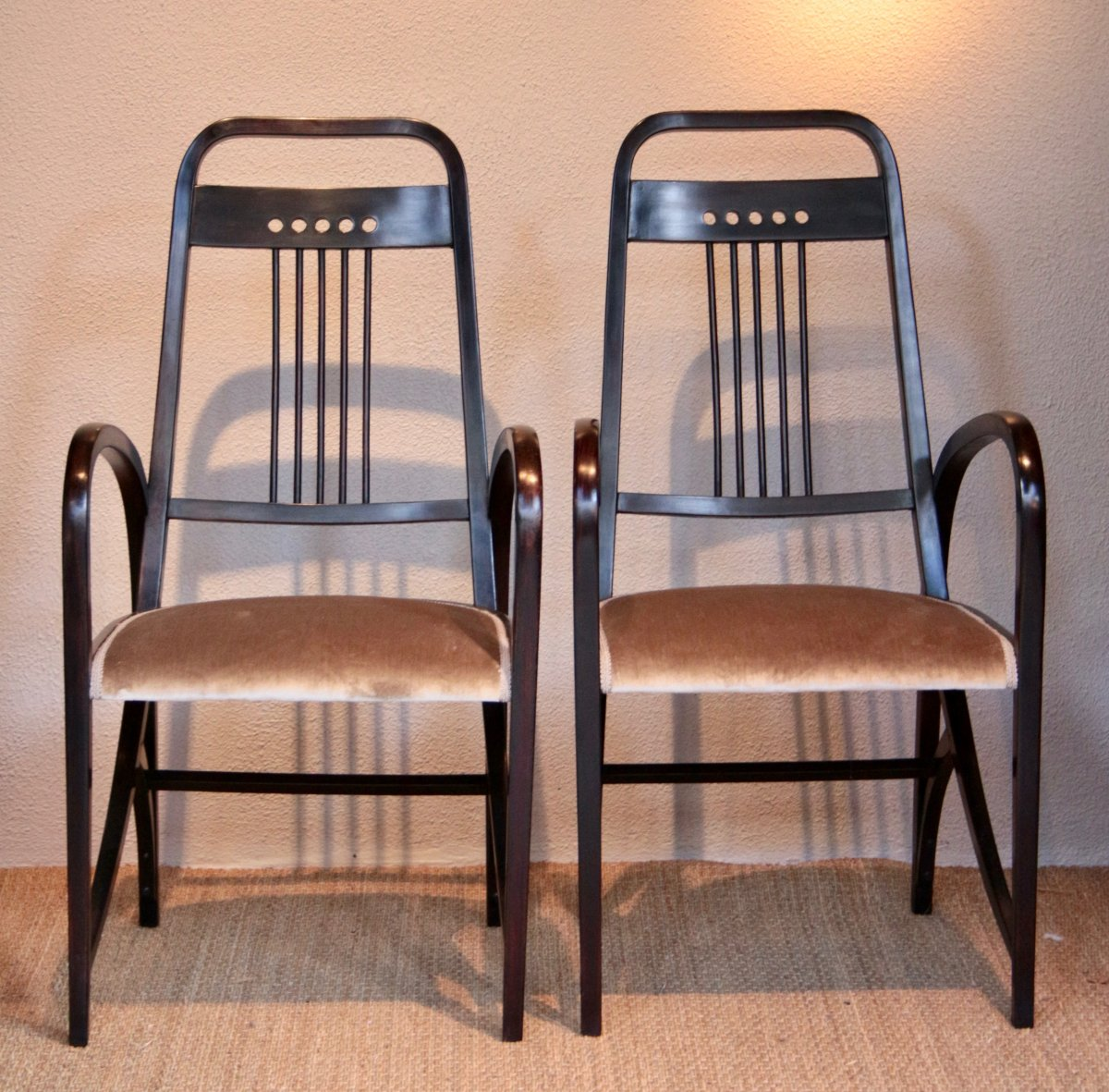 Pair Of Thonet Armchairs, 1900, Attributed To Josef Hoffmann