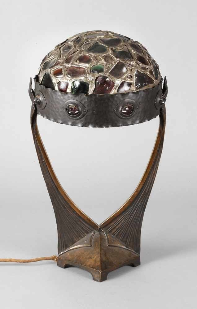 Table Lamp In Bronze And Brass. Lampshade In Cabochons Set With Lead, Berlin, Around 1900