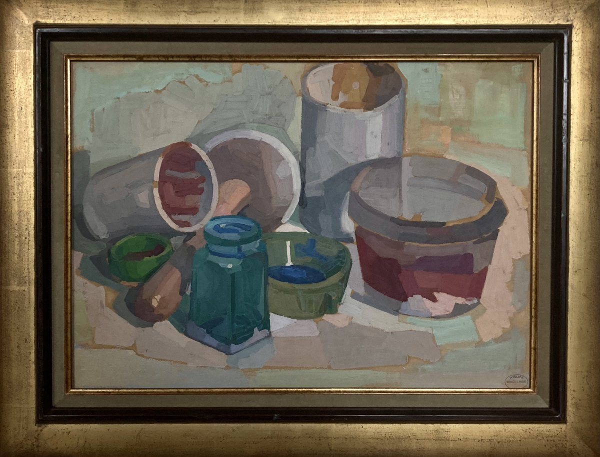 Jules Oury Dit Marcel-lenoir (1872-1931) Still Life With Pots
