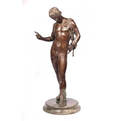 Sculpture bronze Narcisse XIX siècle 61 cm Belle patine