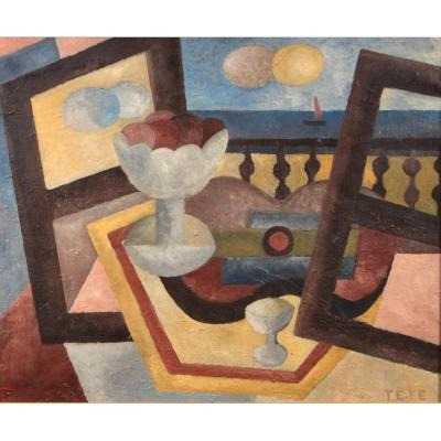 Maurice Louis Tête (1881-1948), Still Life, Fruit Bowl And Sailboat. Oil On Canvas. C. 1930