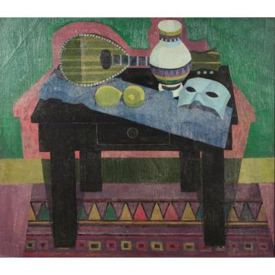 Theo Bitter (1916-1994), Nature Morte, Masque Et Mandoline, Huile Sur Toile, Circa 1960