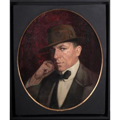 Portrait d'Homme , Huile Sur Toile , Circa 1925, Etats-unis
