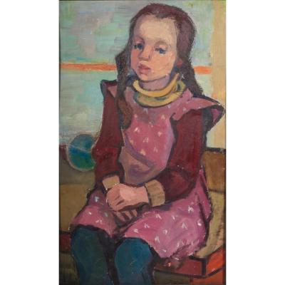 Christa Engler-feldmann (1926-1997), Portrait d'Une Petite Fille, Huile Sur Isorel , Circa 1960