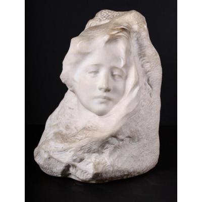 Sculpture , Visage De Femme, Vers 1900, signée Fortiny