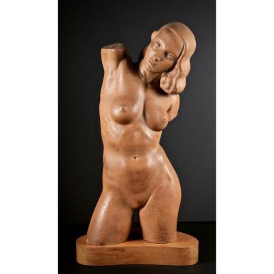 Henri Lagriffoul (1907-1981), Naked Woman, Terracotta, Second Half Of The 20th Century