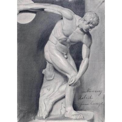 Fusain du Discobole de Miron par Hermann Lange (1890-1939)