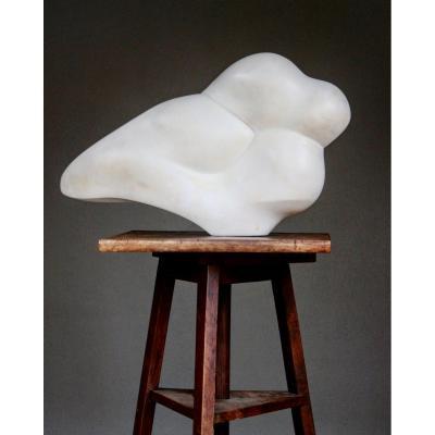 Sculpture En Marbre Blanc , Seconde Moitié Du XXème Siècle