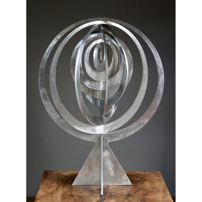 Sculpture En Acier Inoxydable, Représentant Une Série d'anneaux, De Peter Englsch, Datée 2006