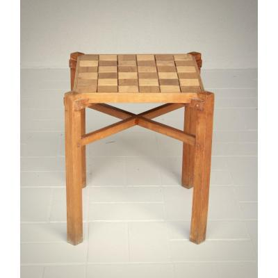 Small Constructivist Spirit Table With Checkerboard Decor And Apparent Chevillage Around 1920