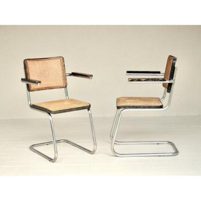Pair Of Mauser Armchairs Rs 14 In Chrome Tubing And Caning, Belle Patine, 1930 '