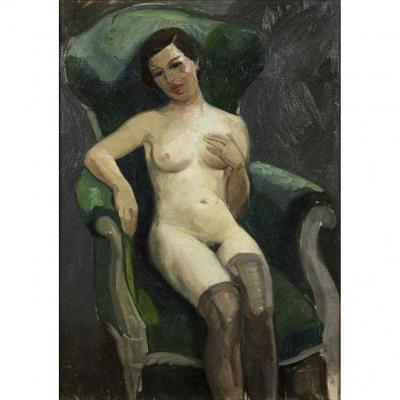 Huile Sur Toile Représentant Une Femme Nue Avec Des Bas Dans Un Fauteuil Voltaire Circa 1925