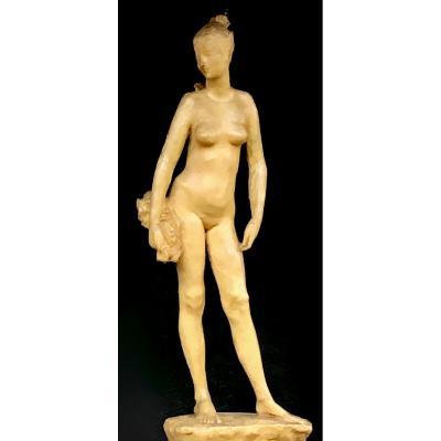 Sculpture  En Cire d'Une Femme Nue Vers 1920, En Pied . Etape Intermédiaire Avant Bronze.