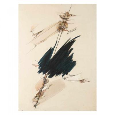 Rudolf Mauke 1924-1998 Huile Sur Isorel  Signée, Datée 1957 Des Perforations Minimes en bordure