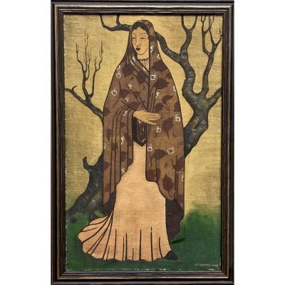 Huile Sur Toile, De Style Symboliste,  Une Femme Devant Un Arbre. Signée M. Michel, Datée 1947.
