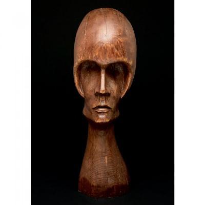 Sculpture Expressionniste  En Chêne Probablement Vers  1920, Dans L'esprit De Boleslas Biegas