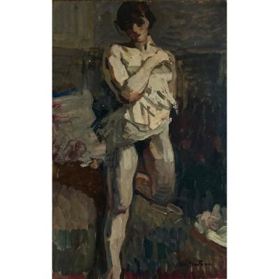 Abel Bertram (1871-1954) Nu Au Drap Dans L'atelier