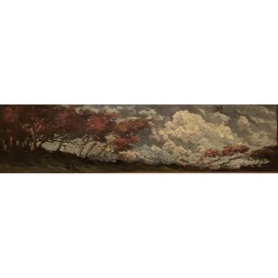 Huile Sur Toile De Jonas Lie (1880-1940) Coup De Vent À L'automne