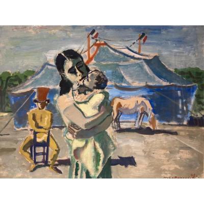 Maurice Georges Poncelet (1897-1978) Les Gens Du Cirque  Daté Signé Huile Sur Papier