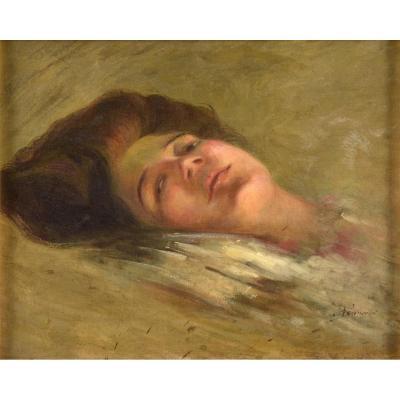 Ophélie, Huile Sur Toile , Vers 1910 , Vernis Jauni Sinon Parfait état, Signée En Bas à Droite