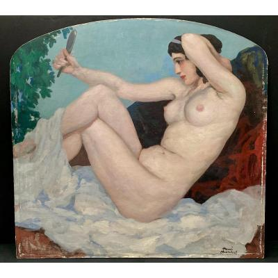 Henri Marchal (1878-1943) Naked Woman Looking At Herself In A Mirror, Signed Lower Right