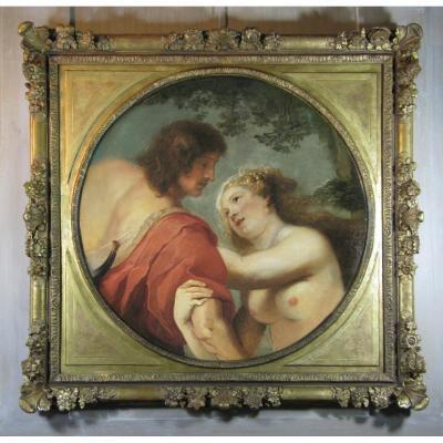 Vénus Et Adonis, Suiveur De Rubens, Deuxième Moitié Du 17ème