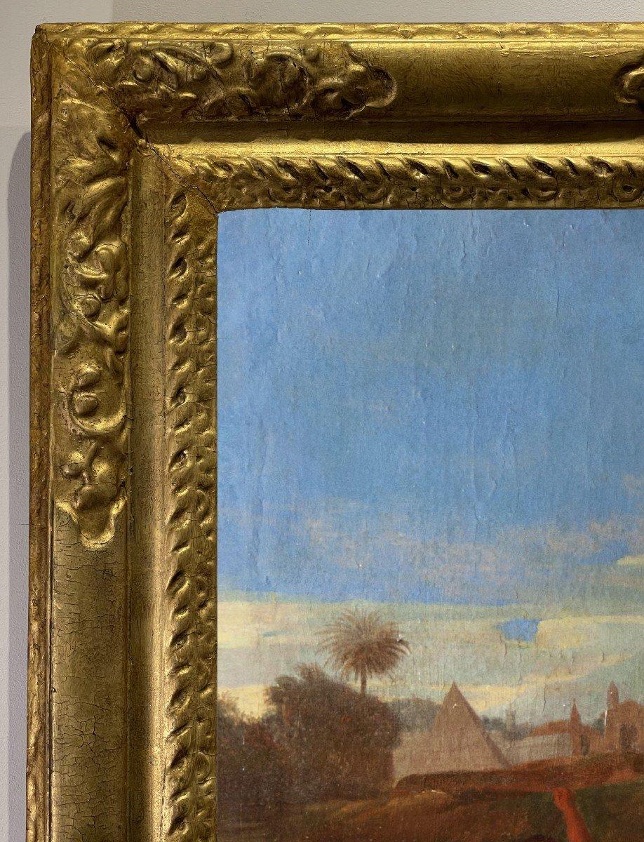 Moïse sauvé des eaux, Suiveur de Nicolas Poussin (1594-1665),huile sur toile du XVIIIème siècle.-photo-1