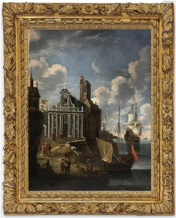 Scène de Port, entourage de Jacob Storck, XVIIème siècle.