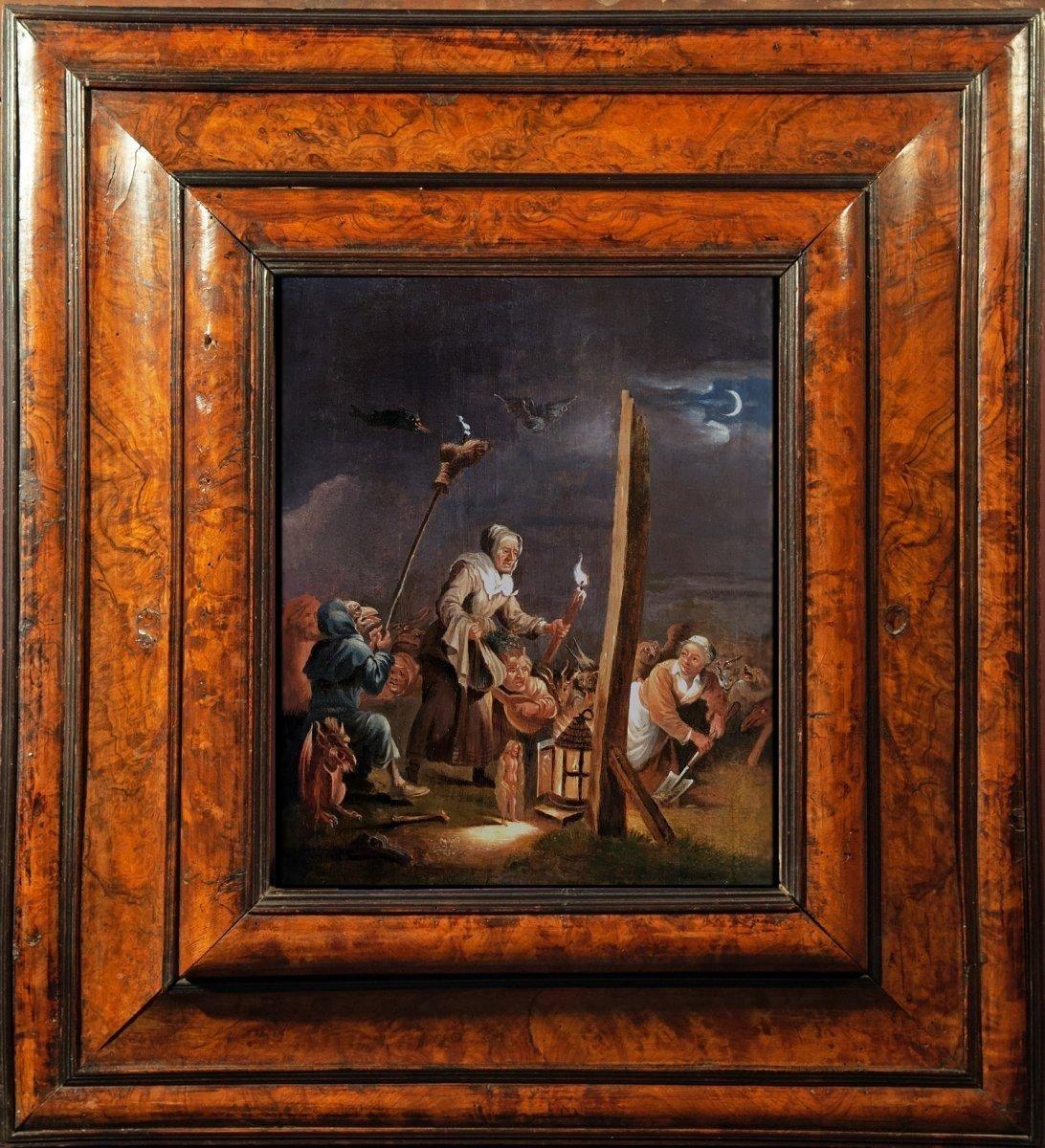 « L'arrivée Au Sabbat », Deuxième Moitié Du XVIIème Siècle, école De David Teniers, Le Jeune.