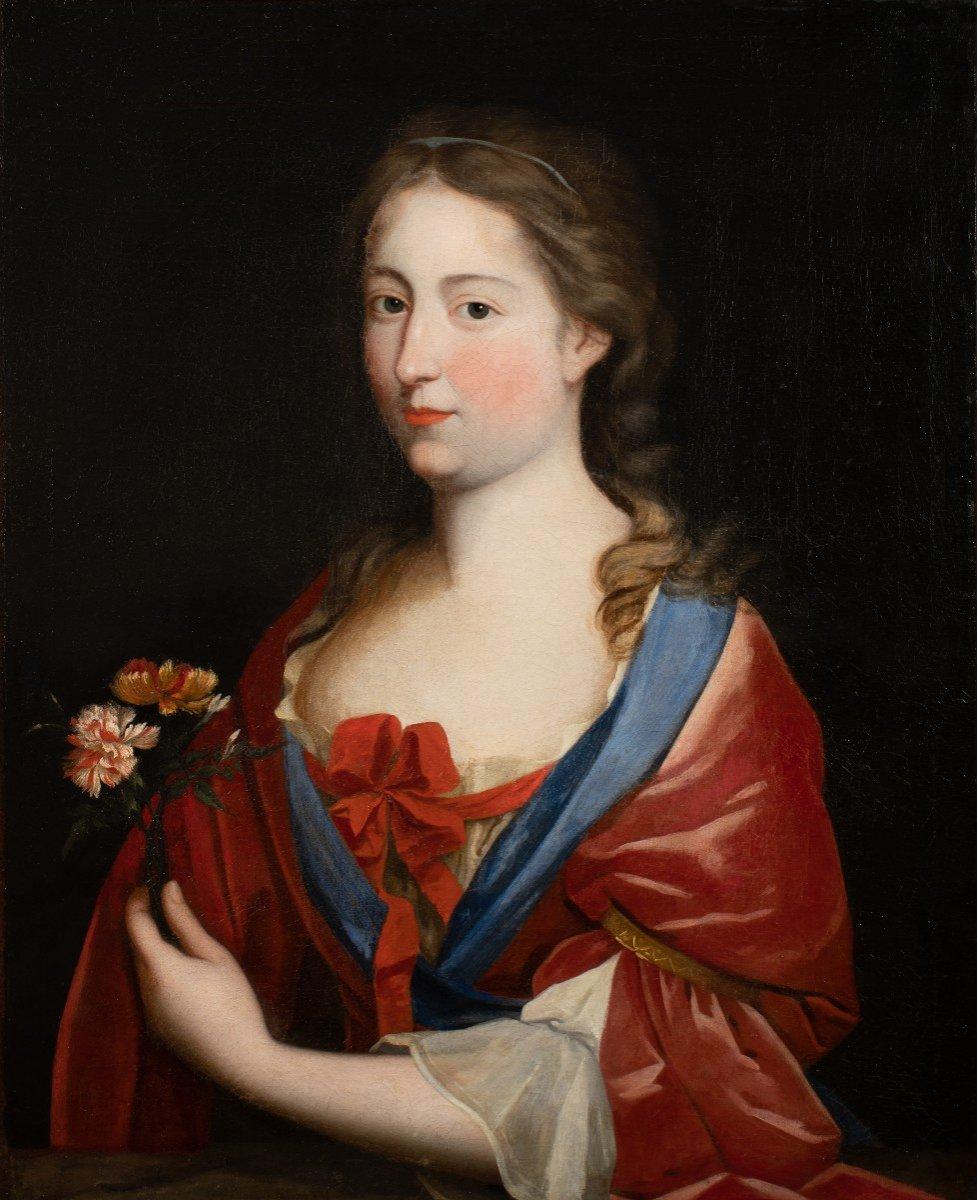Portrait d'une Dame de qualité aux œillets, Peinture du XVIIème siècle dans son cadre d'époque.-photo-1