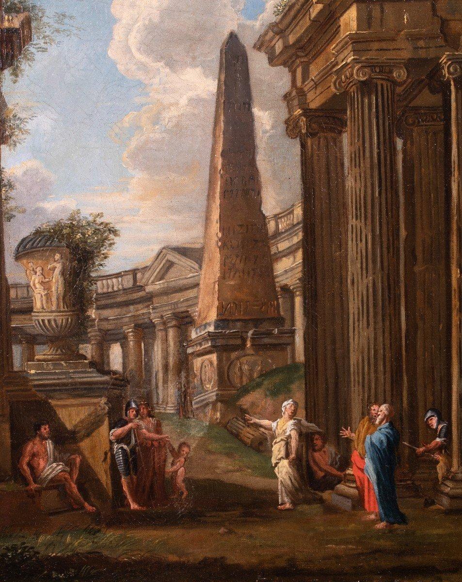 Paysage De Ruines, Atelier De Giovanni Panini, Huille Sur Toile, XVIIIème Siècle.-photo-2