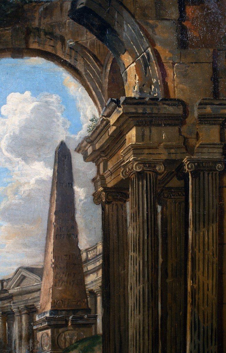 Paysage De Ruines, Atelier De Giovanni Panini, Huille Sur Toile, XVIIIème Siècle.-photo-4
