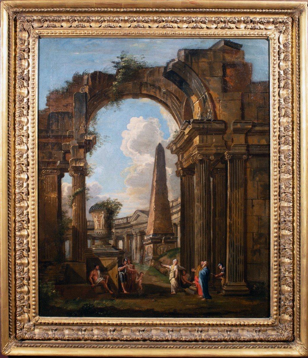 Paysage De Ruines, Atelier De Giovanni Panini, Huille Sur Toile, XVIIIème Siècle.
