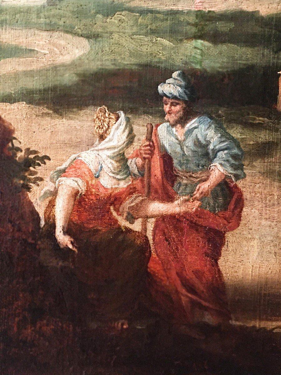 Paysage italien animé de personnages, école italienne du XVIIème siècle. -photo-2