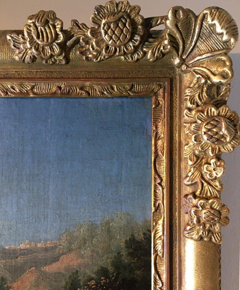 Paysage italien animé de personnages, école italienne du XVIIème siècle. -photo-1