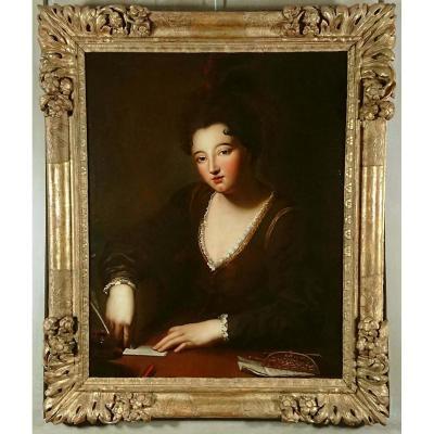 Femme cachetant une enveloppe, atelier de Santerre 1651-1717