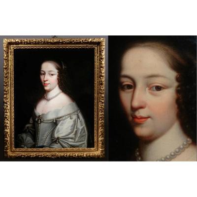 Portrait d'Henriette de Coligny de la Suze, Attribué Aux Frères Beaubrun , Peint Vers 1640.