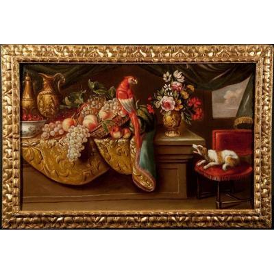 Nature morte au perroquet et au chien, attribuée à Reynaud Levieux, XVIIème siècle
