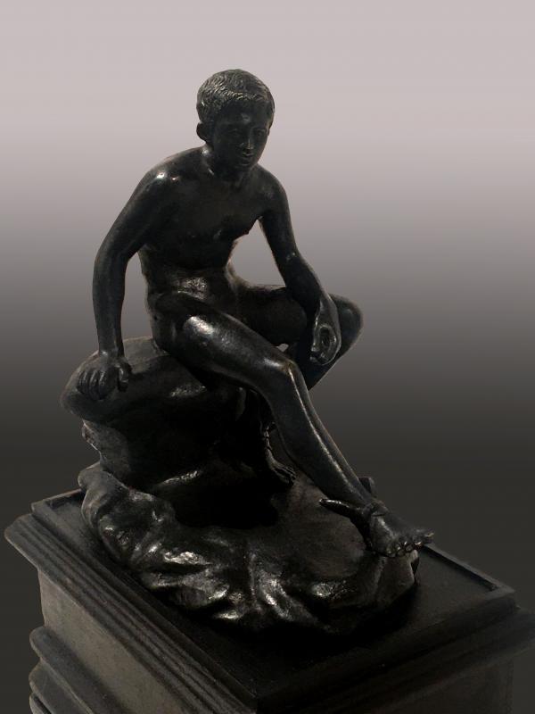 Mercure au repos, bronze , XIXe  siècle, travail probablement italien. -photo-2