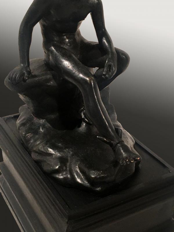 Mercure au repos, bronze , XIXe  siècle, travail probablement italien. -photo-4